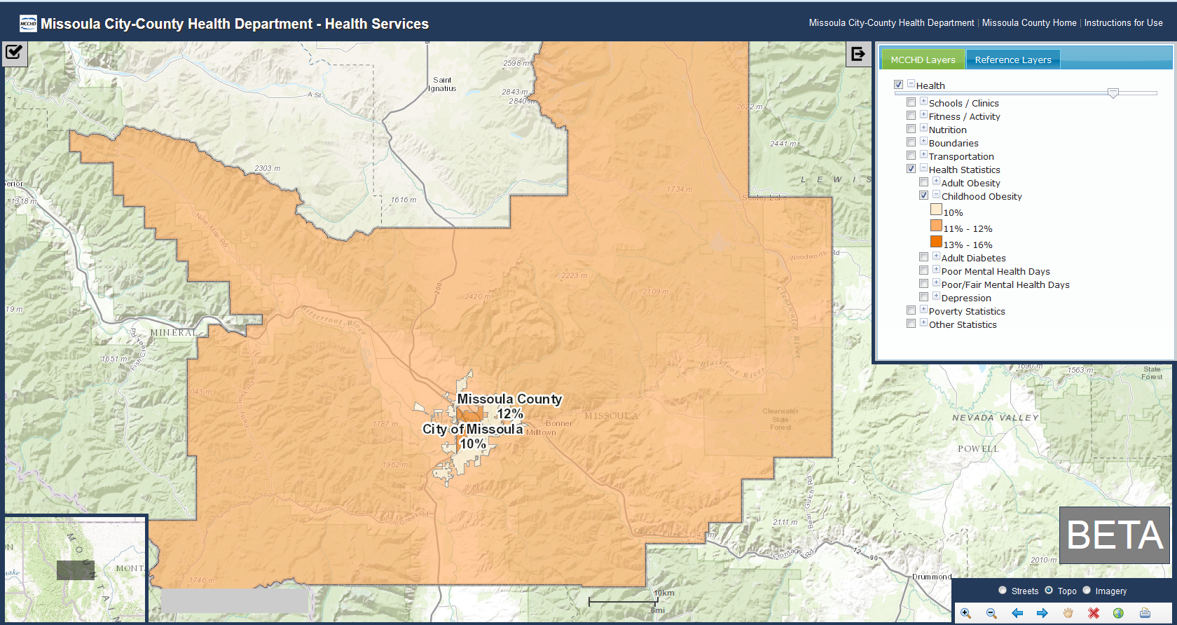 Community Health Maps Missoula County MT - County by county us health map statistics