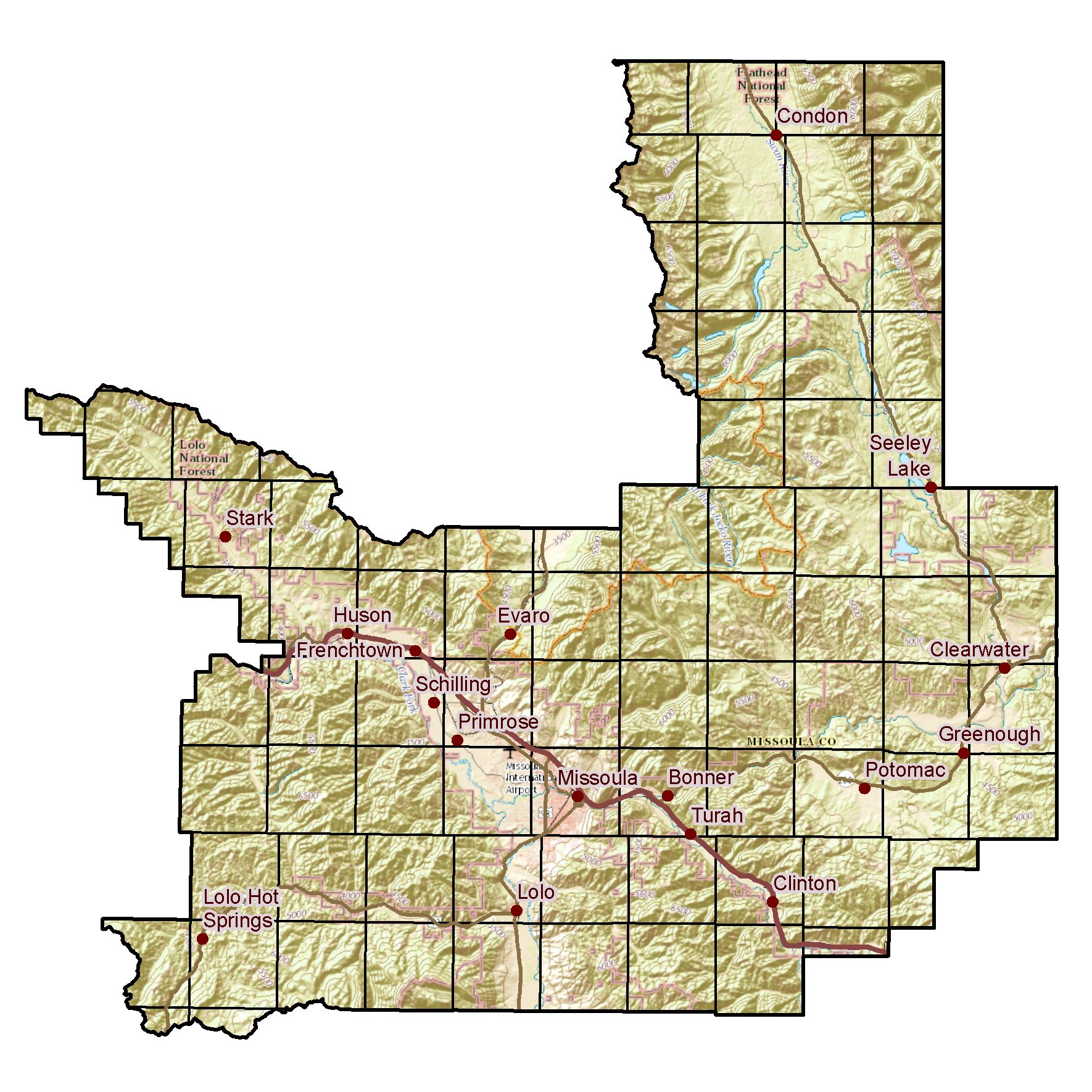 Map of Missoula County displaying Public Land Survey System (PLSS) Townships