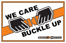 "Parking lot sign, ""We Care, Buckle Up"""