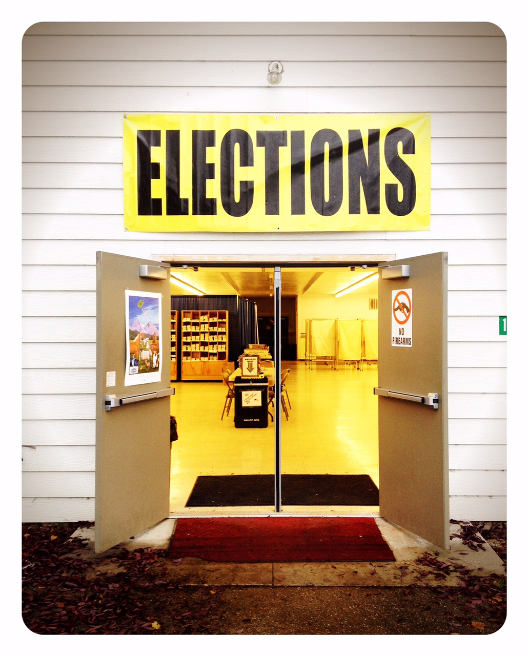 Entrance to the Election Center at the Missoula County Fairgrounds.