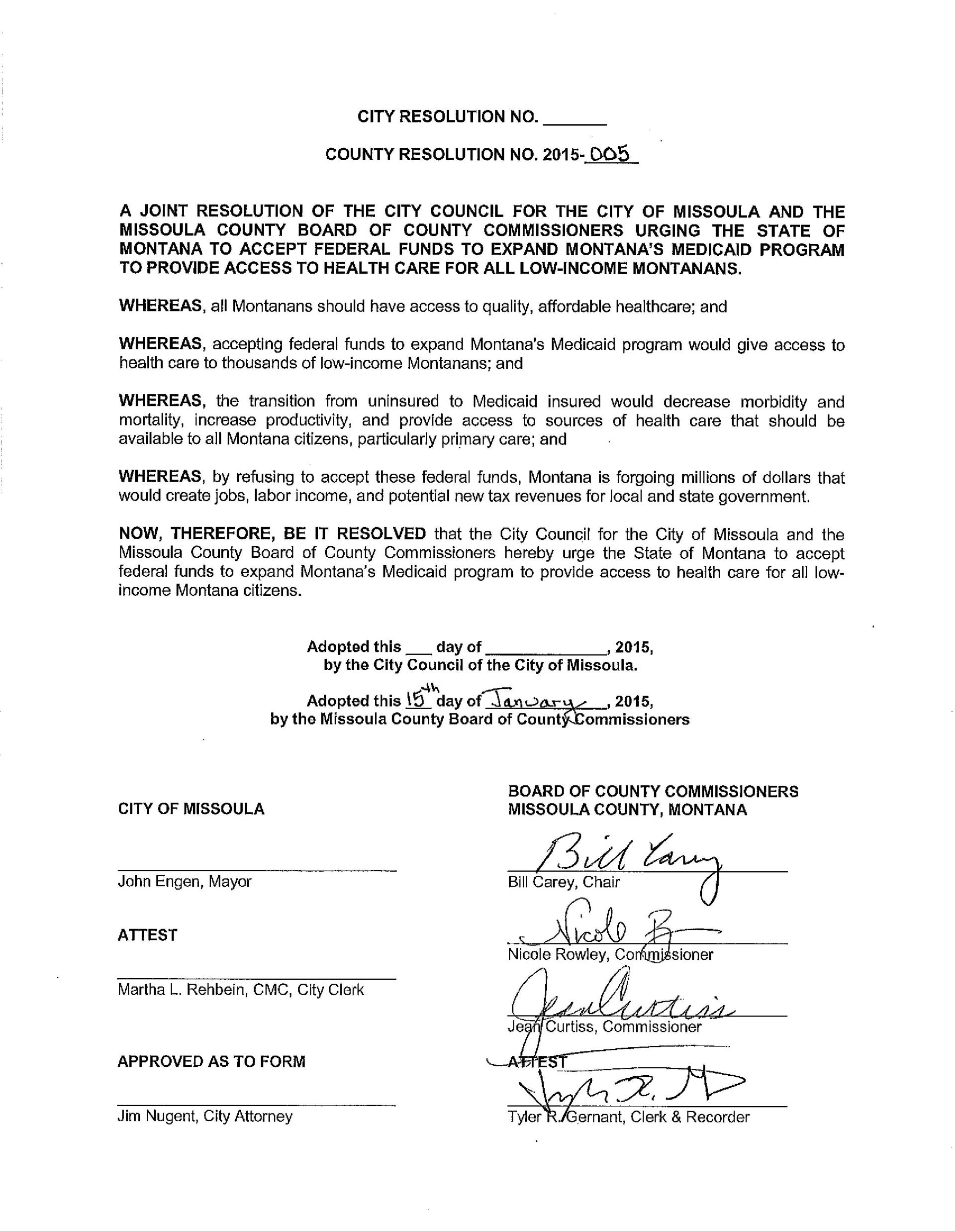 Example Of A Missoula County Resolution, Signed Early 2015