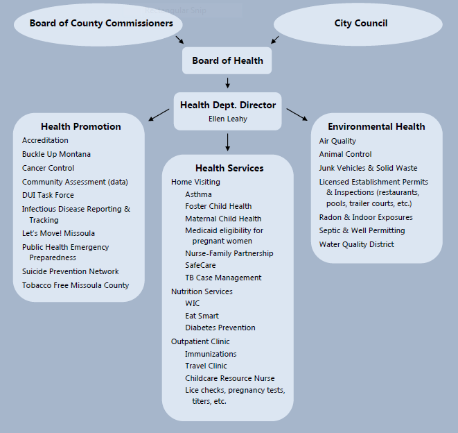 City-County Health Deptartment Organization chart
