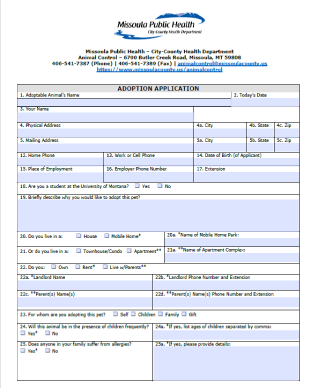Screenshot of Adoption Application first page.
