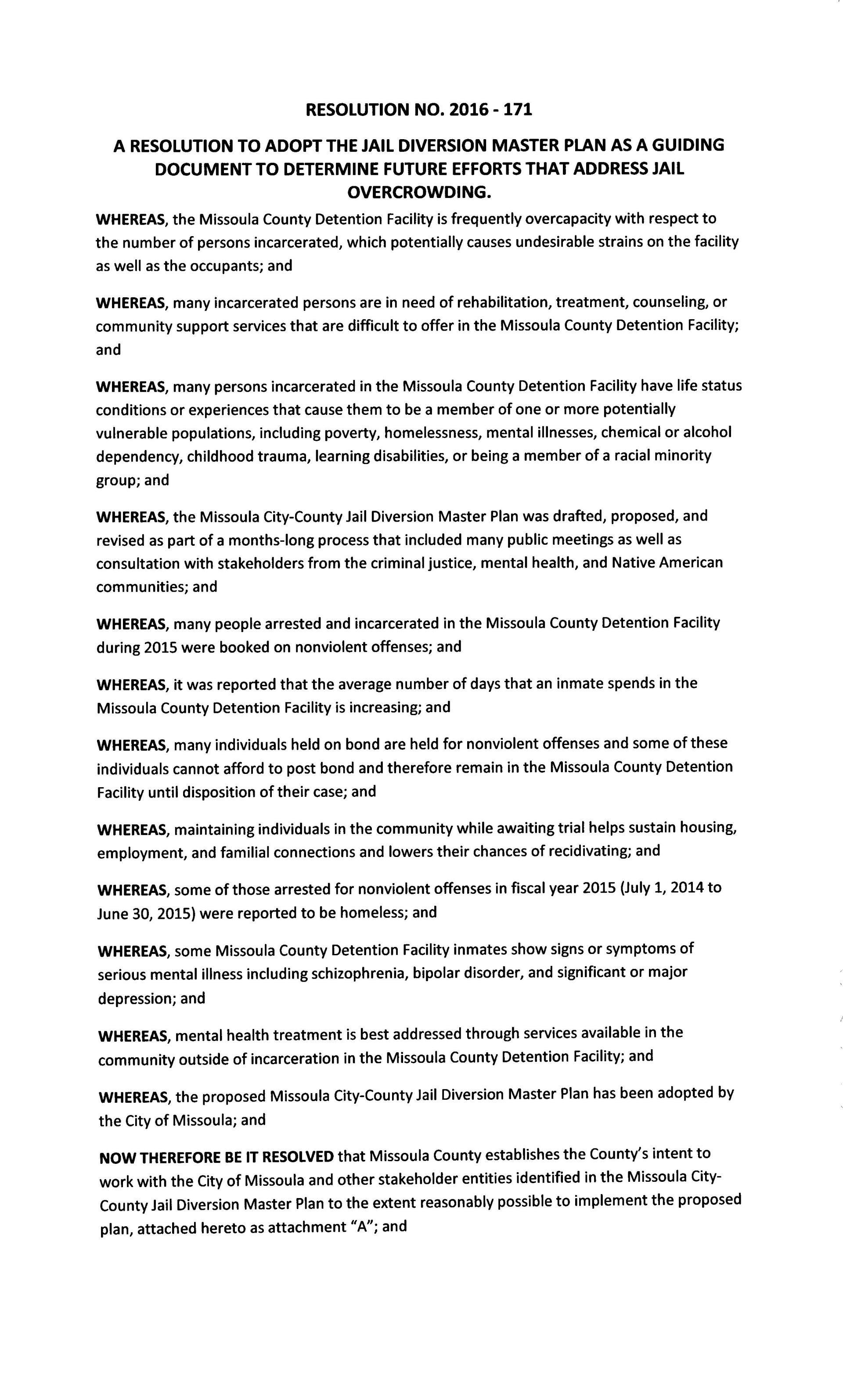 Jail Diversion Master Plan Resolution